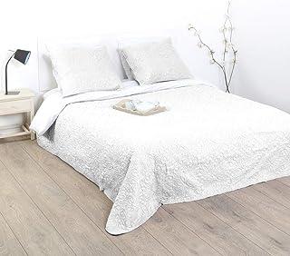 Atmosphera Juego de cama acolchado - 1 colcha con 2 fundas de cojín - Suave y cálido [Grande] [Marfil]