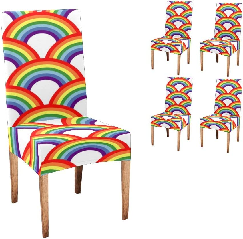 Anneunique Recommended CUXWEOT Chair Covers for 4 years warranty Room Rainbow Dining Custom A
