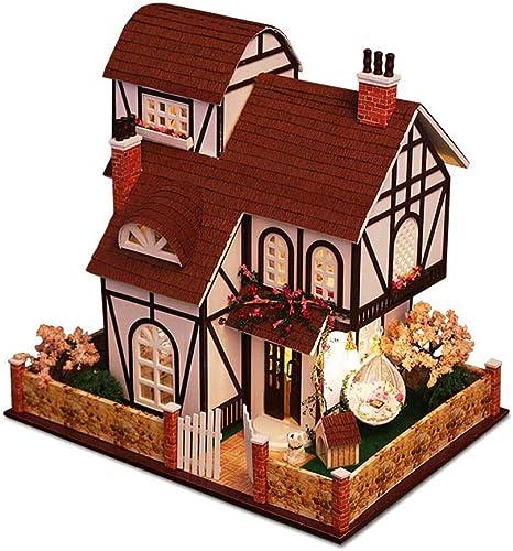 Evav Puppenhaus, DIY Flower Town von Hand zusammengebautes Haus-Modell Villa m lich Geburtstagsgeschenk
