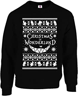 Graphic Impact Inspired Alice and in Cheshire and Cat Ugly Wonderland Christmas Xmas Sweater Jumper (Black, XXLarge)