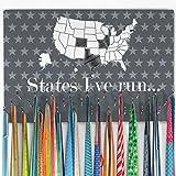 Hooked on medallas (grande) | medalla percha y pantalla por Gone para un Run | con Estados Unidos mapa de borrado en seco para el seguimiento de carrera Estados | gris