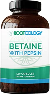 Rootcology Betaine with Pepsin - Dietary Health Support with 750mg Betaine Hydrochloride + 33mg Pepsin - Digestive Enzymes...