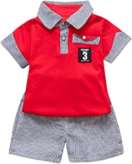 WARMSHOP Clothing Set for Boys 3 PC Newborn Toddler MOM+DAD Letter Print Tops Dot Pants and Hat Outfits Set