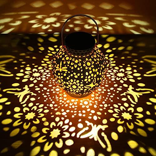 Lanterna Solare Esterno, omitium Lanterna Solare Giardino Vintage Luce Impermeabile IP65 e Antiruggine Lanterne Decorativo LED Lanterna Solare per Terrazza, Balcone,Parco, Prato, Natale