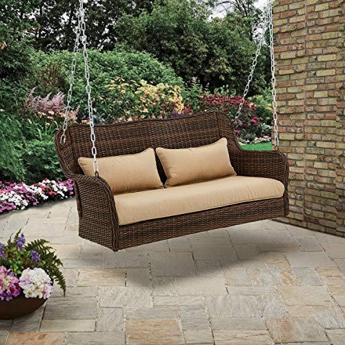 Better Homes & Gardens Camrose Farmhouse Wicker Outdoor Porch Swing, Dark Brown
