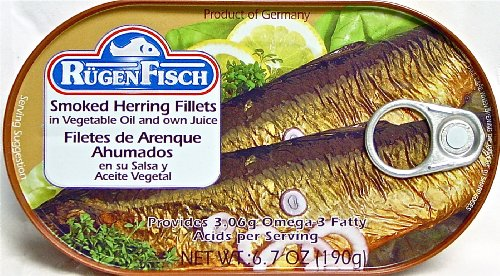 Ruegenfisch Smoked Herring Fillets, 6.7-Ounce Tins (Pack of 16)