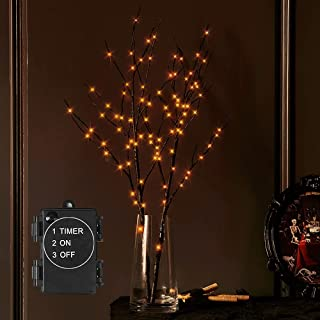 LITBLOOM Lighted Halloween Tree Branches Battery Operated with Timer Orange Fairy Lights