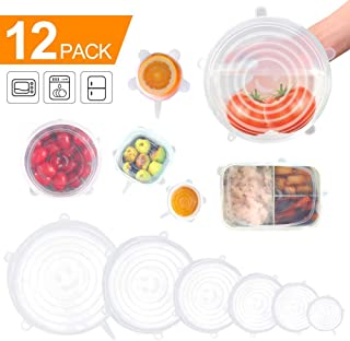 Goodsmiley Keeping-Food-Fresh-5A Reusable Durable and Expandable Silicone Stretch and Seal Lids Bowl Covers 12 Pack, 6 Sizes, White