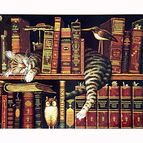 5D DIY Diamond Painting Beginners Kits Cat Sleeping on The Shelf 60x90cm/24x36in Diamond Art Picture Full Drill Crystal Embroidery Cross Stitch Arts Craft for by Canvas Number Home Wall Decor