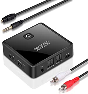SZMDLX Bluetooth 5.0 Transmitter Receiver, Digital Optical TOSLINK and 3.5mm AUX Stereo Output, Low Latency, Pair 2 Device...