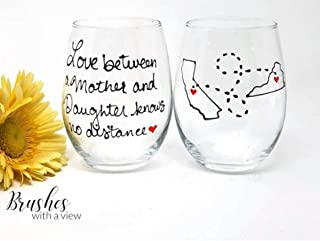 Hand Painted Mother and Daughter Wine Glass, Long Distance State Wine Glass, Stemmed or Stemless Available, All States, Countries or Canadian Provinces Available