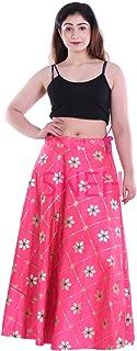 SNEH Women's Dupion Silk Heavy Gota Patti Work Skirt (Pink,Free Size)