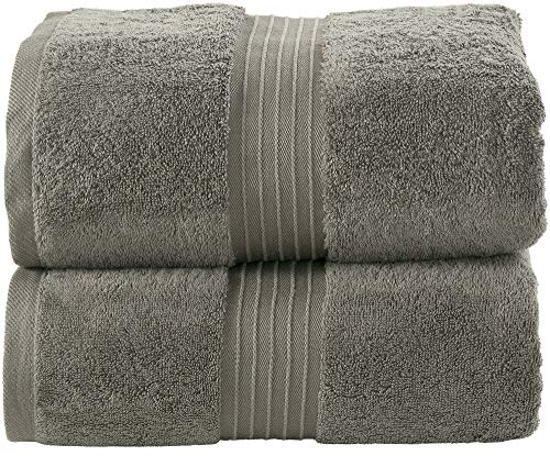 Bliss Casa Luxurious Jumbo Bath Sheet 35 x 70 Inch (2 Pack) 600 GSM Combed Cotton Highly Absorbent and Quick Dry Hotel Bath Sheet Set (Dark Gray)