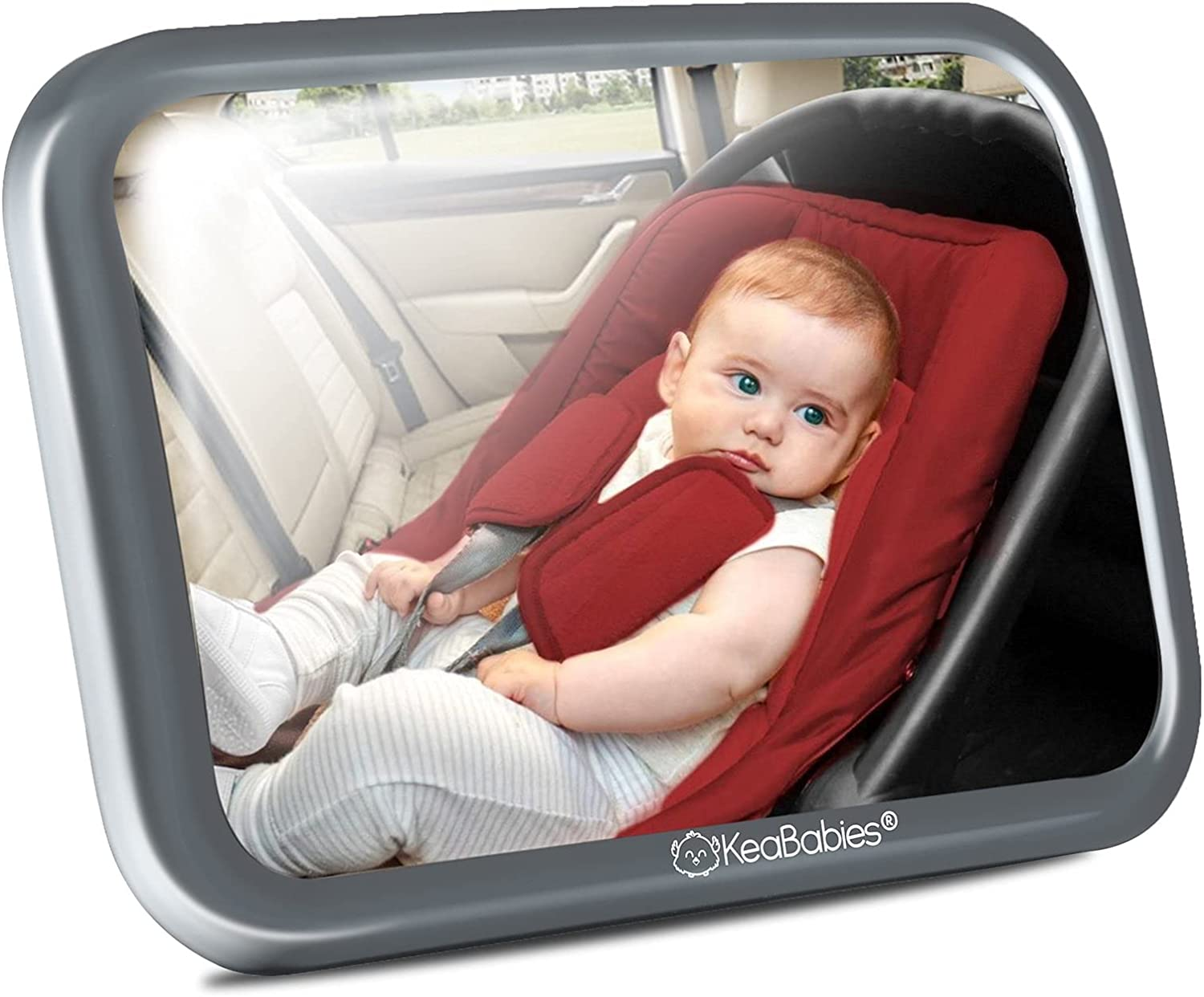 Large Shatterproof Baby Car Mirror - Safety Car Seat Mirror for Rear Facing Infant - Wide Shatterproof KeaBabies Car Baby Mirror - Carseat Mirrors - Fully Assembled Baby Car Mirror (Sleek Gray)