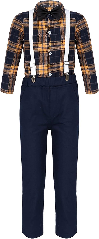 ranrann Boys Suit Dress Shirt with Bow Tie Suspender Pants Formal Dresswear 4-Piece
