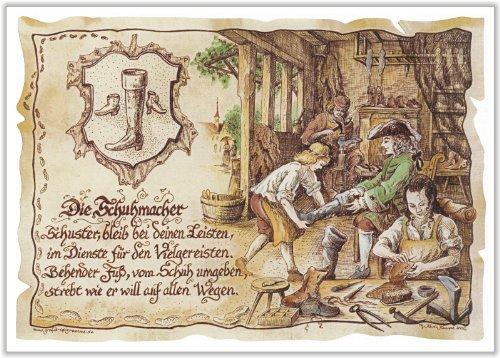 Geschenk Schuhmacher Schuster Zeichnung Color 30 x 21 cm
