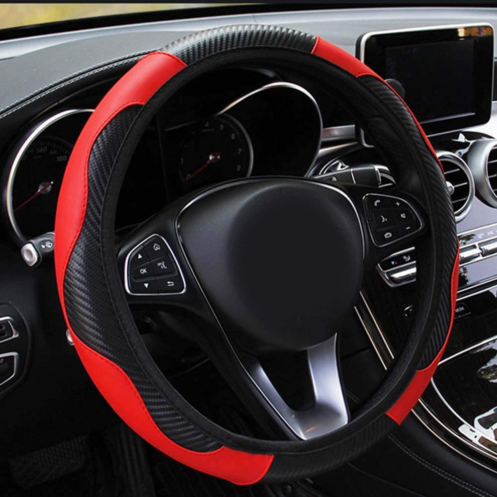 PU Leather Car Steering Wheel Cover Breathable Anti-slip Protector 15/'/'//38cm G