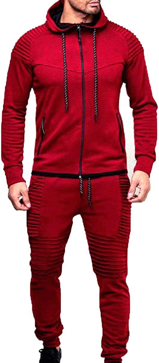 KISSQIQI Men's 2 Pieces Tracksuits Running Jogging Athletic Casual Outfits Suit Solid Full Zip Sports Hooded+Pants Sweatsuits