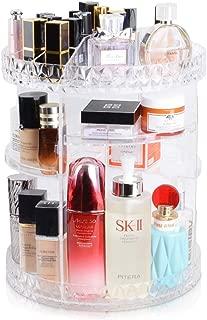 InnSweet Makeup Organizer, 360-Degree Rotating Cosmetic Storage Shelf, Adjustable Multi-Function Makeup Storage Rack with 8 Layers Large Capacity, Acrylic Transparent