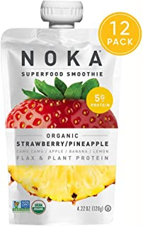 NOKA Superfood Pouches (Strawberry Pineapple) 12 Pack   100% Organic Fruit And Veggie Smoothie Squeeze Packs   Non GMO, Gluten Free, Vegan, 5g Plant Protein   4.2oz Each