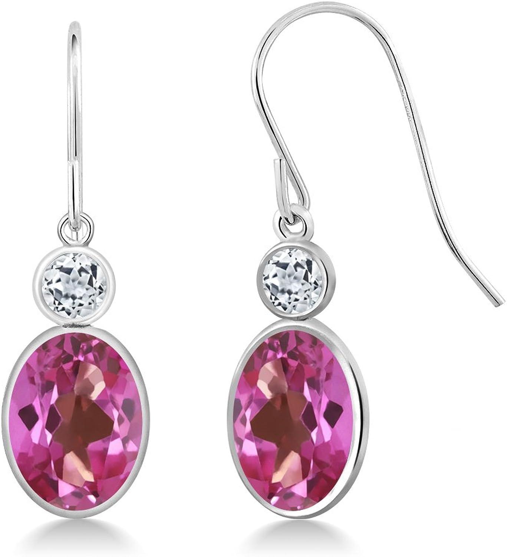 3.28 Ct Oval Pink Mystic Topaz White Topaz 14K White gold Earrings