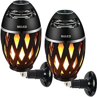 NULED Flame Speaker IP65 Waterproof Outdoor Atmosphere LED Stereo Speaker w. 3600mAh/3.7V Rechargeable Batteries for Deck, Patio, Parties, Pair 2 Speakers for Surround Sound - Pair