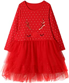 Baby Girls Tulle Princess Dresses GoodLock Toddler Kids Christmas Long Sleeve Dot Print Dress Outfits Red