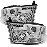For Dodge Ram Pickup Truck Chrome Clear Dual Halo Ring LED Projector Headlights Replacement Left +...