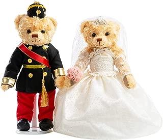 HollyHOME Stuffed Animals Wedding Teddy Bears Plush Bride and Groom Bears Toys Dolls for Wedding Decoration Valentine Birthday Party Gift, Set of 2, Black,14 Inch