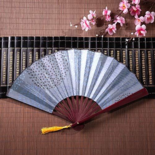 WYYWCY Papierfaltfächer Stilvolle Moderne Blaue Farbpunkte mit Bambusrahmen-Quastenanhänger und Stoffbeutel Robuster Handfächer Handfächerfächer Japanische Fächer