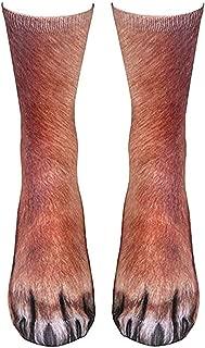 Animal Paw Socks,Unisex Adult 3D HD Printed Funny Socks,Novelty Animal Paws Crew Socks for Men Women Kids