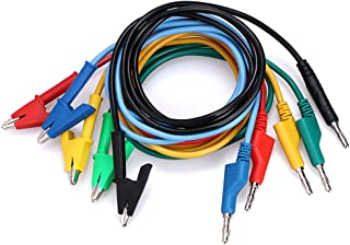 Sumnacon Multimeter Banana Plug to Crocodile Alligator Clip Test Probe, 5PCS 4mm Stackable Colorful Silicone Banana Plug to Alligator Clip Test Probe Lead Wire Cable 1M