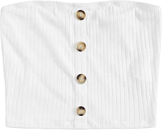 Women's Sexy Strapless Basic Button Up Stretchy Bandeau Tube Top