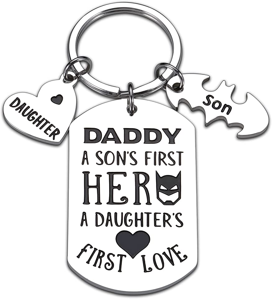Gifts for Dad Fathers Day Birthday, Keychain Gift for New Dads to Be from Daughter Son Kids Stepdad Husband from Stepdaughter Wife Wedding Thanksgiving Christmas Valentines Father of the Bride Men Him