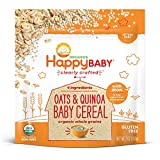 Happy Baby Organic Clearly Crafted Cereal Whole Grains Oats & Quinoa, 7 Ounce Bags (6 Count) Organic Baby Cereal in a Resealable Pouch with Iron to Support Baby's Brain Development a Great First Food