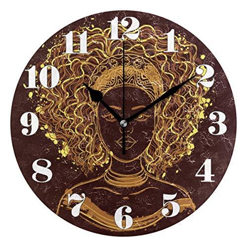 GOSMAO 25cm (9.8') Redondo Reloj de Pared Silencioso No Tick Tack Ruido Reloj de Pared Mujeres afroamericanas