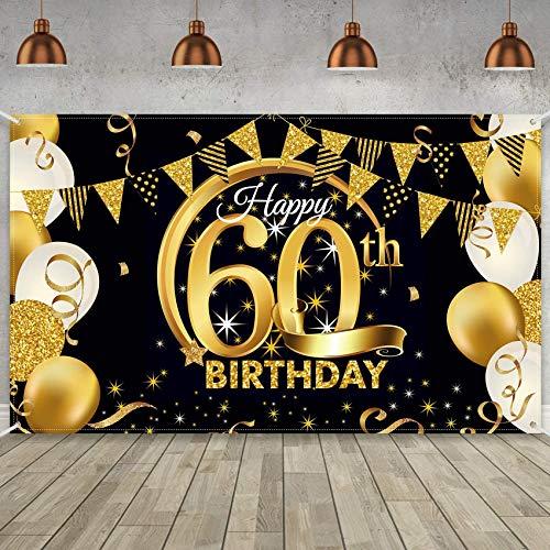 TaimeiMao Compleanno Festa Decorazioni,Poster di Tessuto in Oro Nero,Sfondo di Anniversario,Nero Oro Striscione,Happy Birthday Numero,Anniversario Banner di Sfondo,Poster in Oro Nero (Il giro-60)