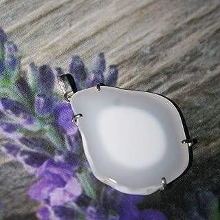 Cacholong pendant, white opal pendant