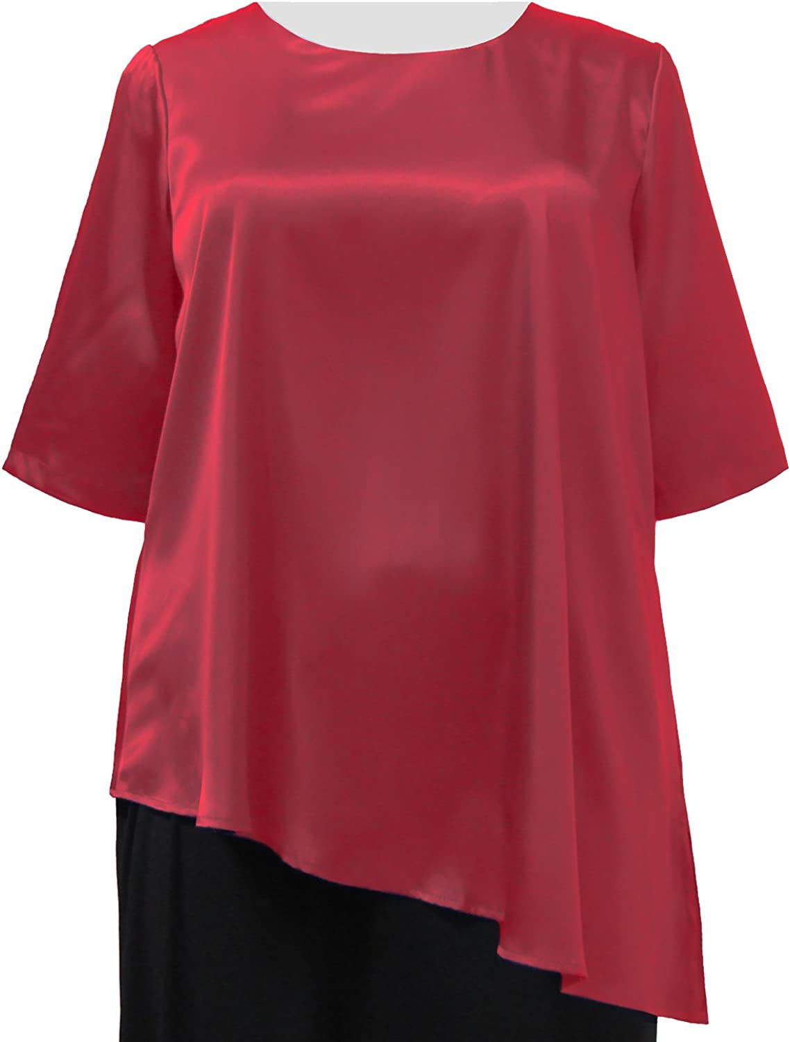 Red Asymmetrical 3/4 Sleeve Round Neck Pullover Plus Size Woman's Pullover Top