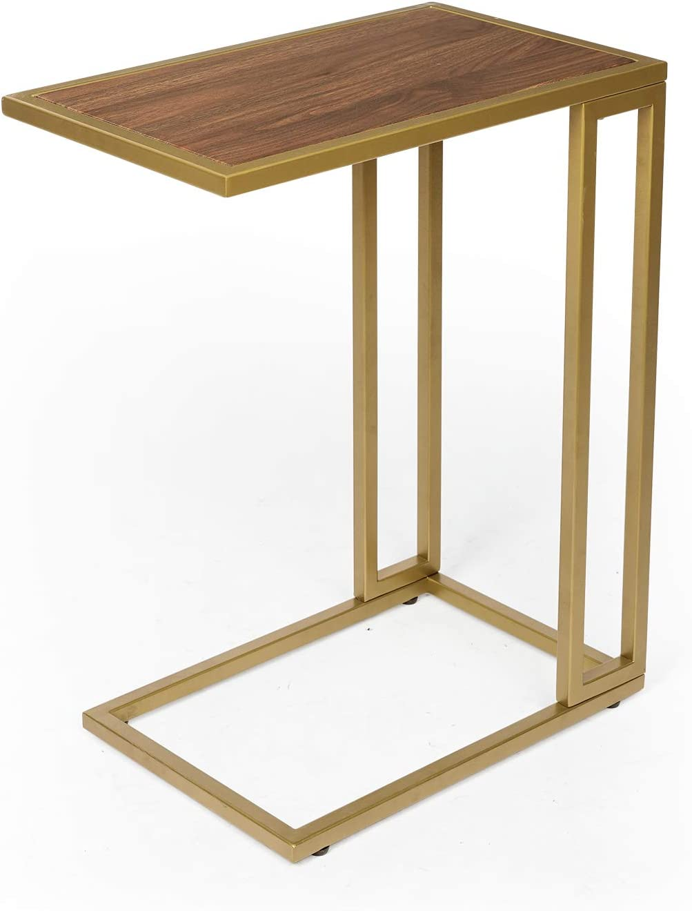 KS002A Wood Finish//Brass Gold Metal Frame Sofa Couch Table for Small Space C Table Side End Tables-Accent TV Tray