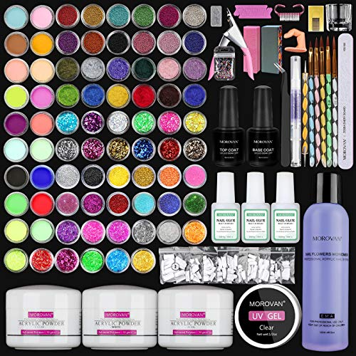 Morovan Acrylic Nail Kit Glitter Powder and Monomer Acrylic Nail Liquid Set 78 Colored Powders to Nail Tips for Acrylic Nails Nail Art Tools Acrylic Nail Brush Kit