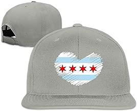 Chicago Flag in Heart Shape Men/Women Baseball Cap, Unisex Hiphop Snapback Hat