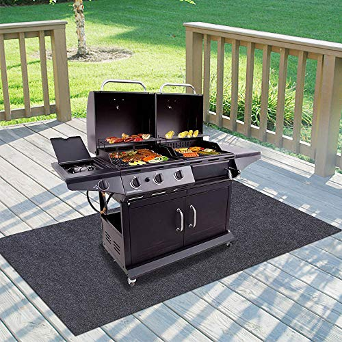 "Gas Grill Mat,BBQ Grilling Gear for Gas/Absorbent Grill Pad Lightweight Washable Floor Mat to Protect Decks and Patios from Grease Splatter,Against Damage and Oil Stains (48""×72"") Floor Grill Mats Pads"