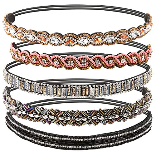Teenitor 5pcs Jeweled Headband, Handmade Elastic Headbands for Women, 20-26.8' Fits for Most