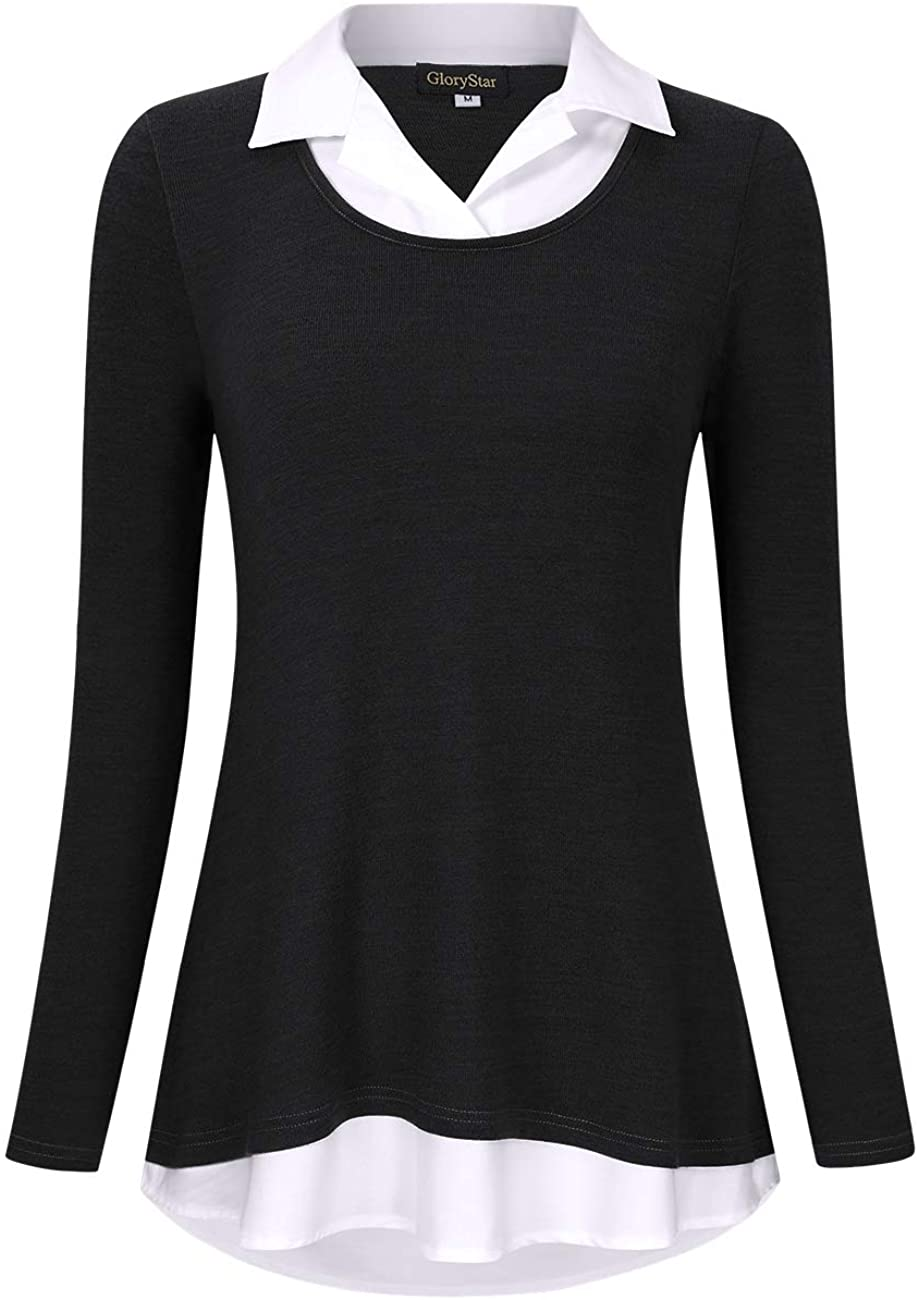 GloryStar Women's Long Atlanta Gifts Mall Sleeve Contrast Collared Shirts Patchwork