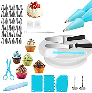 Cake Decorating for Beginners, 52 PCS Professional Reusable Baking Pastry Tools Tip Set Cake Accessories with Turntable, C...
