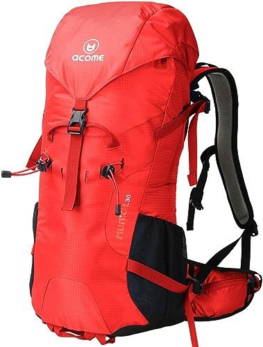JSSFQK Sac d'alpinisme en Plein air randonnée Homme Sac à Dos Femme 30L Sac à Dos imperméable à l'eau Sac à Dos en Plein air (Couleur   rouge)