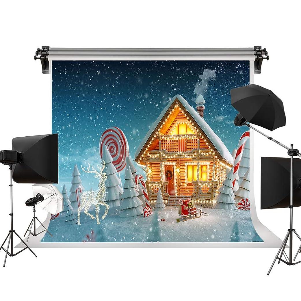 落ち着いた変換する医学Kate 2.2x1.5m クリスマス雪背景布 鹿のそりの背景 お菓子の家の背景 クリスマスの妖精の背景 松の木の背景 撮影用の背景幕 カスタマイズ可能様々な背景