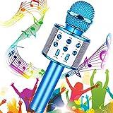 Microfono Inalámbrico Karaoke, Buty Micrófono Karaoke Bluetooth Infantil Portátil para Niños Altavoz Canta Partido Musica Compatible con Android/iOS PC, AUX o Teléfono Inteligente (Azul)