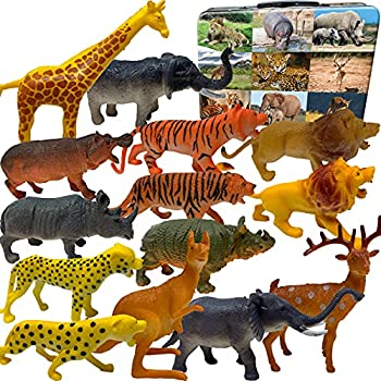 3 Bees & Me Safari Animal Toys with Storage Box   14 Assorted Figures of Wild Jungle Animals for Kids with Fun Facts for Learning   Toddler & Children Playset for Boys & Girls   Phthalate and BPA Free